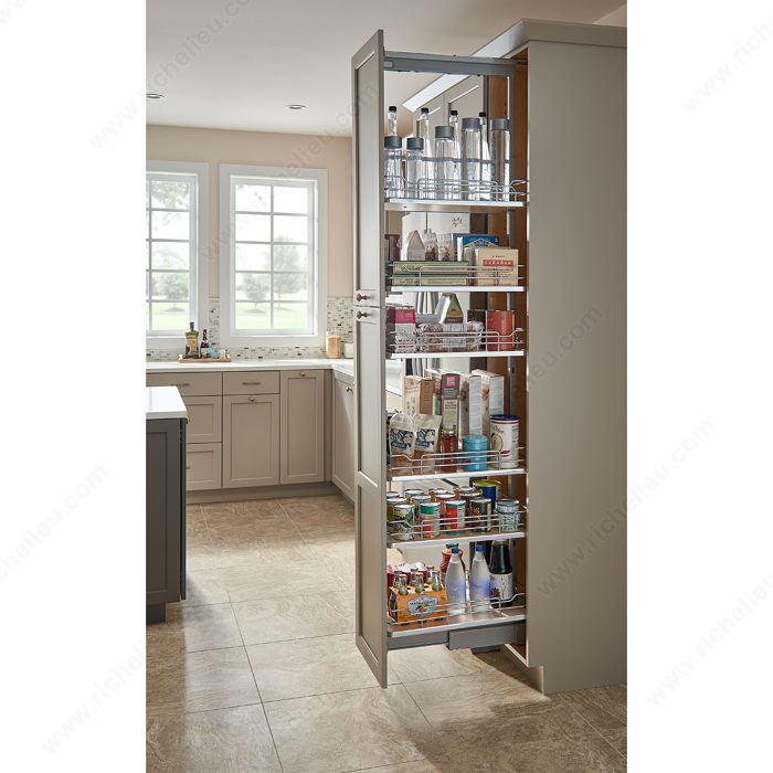 sliding pantry with non slip baskets richelieu hardware. Black Bedroom Furniture Sets. Home Design Ideas