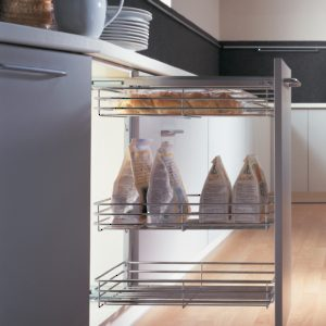 Comfort I Thick Chrome Basket Sliding System for Base Cabinets