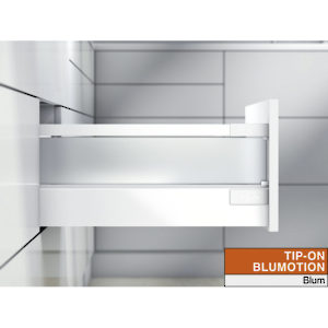 Drawer with Glass Insert - Height D (224 mm) for Tip-On Blumotion