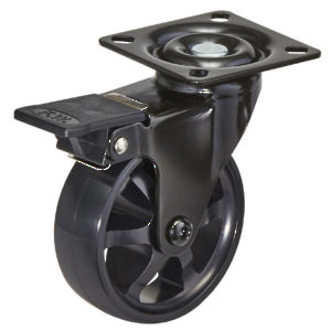 Aluminum Single Wheel Design Caster - Black on Black