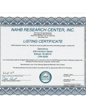 Listing Certificate