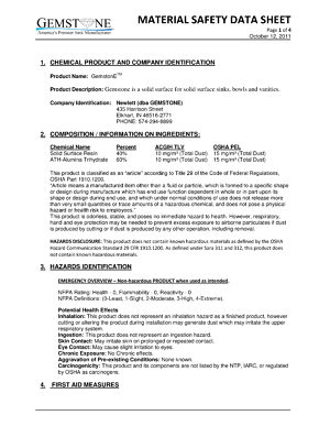 Material Safety Datasheet