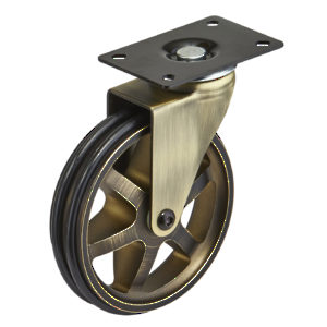 Aluminum Single Wheel Vintage Caster - Rustic Brass