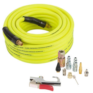 Flexible Air Hose with Air Compressor Accessory Kit