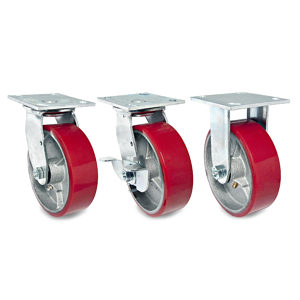 Heavy-Duty Mold-On Polyurethane Industrial Casters with Plate