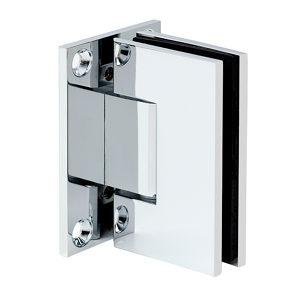 90° Glass-to-Wall Hinge with Full Back Plate - Square Compact