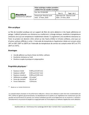 Technical Datasheet of Raw Materials