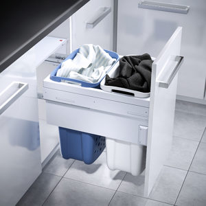 Pull-Out Hamper with Synchronized Slides