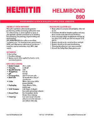 Helmibond 890 Postforming And Pinch Rolling Adhesive