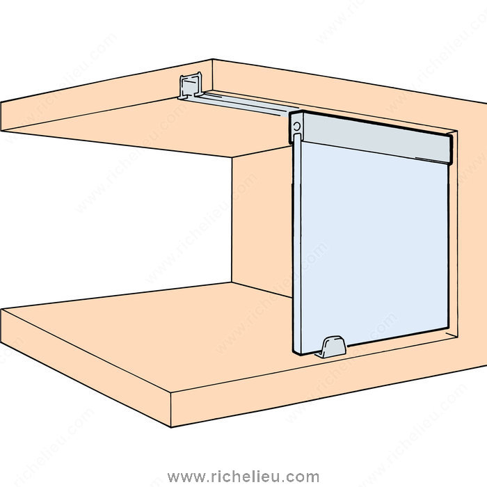 Single roller track set in place 1510725 richelieu hardware - Cabinet sliding door tracks and rollers ...