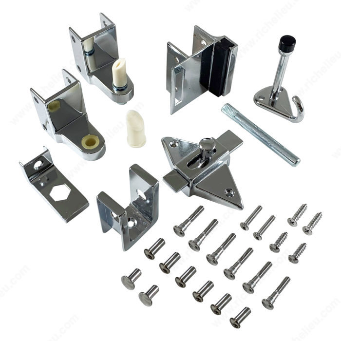 Hardware kit for inswing door richelieu hardware for Bathroom divider hardware