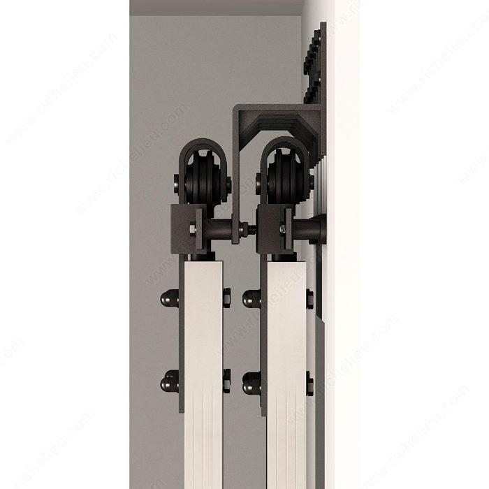support mural pour porte coulissante type porte de grange sur rail plat quincaillerie richelieu. Black Bedroom Furniture Sets. Home Design Ideas