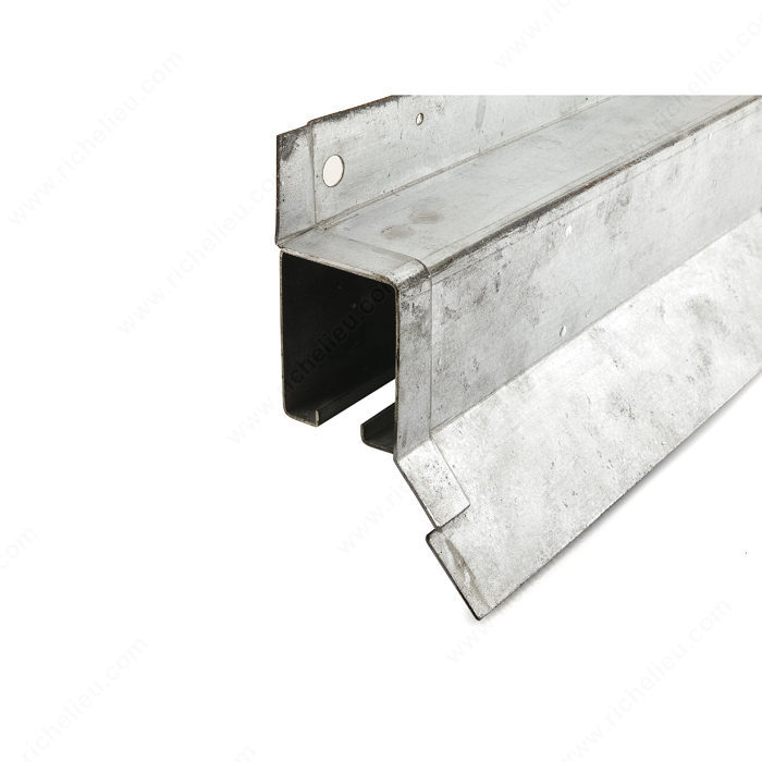 Heavy duty galvanized steel box rail with flashing for Exterior sliding door systems