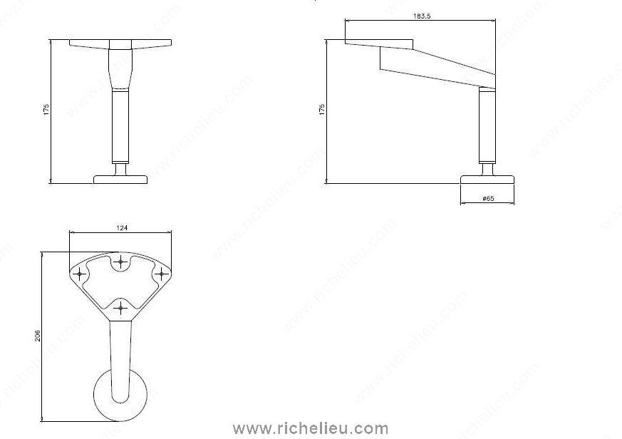 patte de meuble design 175 mm 7 po quincaillerie richelieu. Black Bedroom Furniture Sets. Home Design Ideas