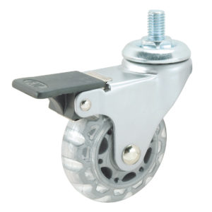 Contemporary Clear White/Gray Stem Furniture Caster - Threaded Stem