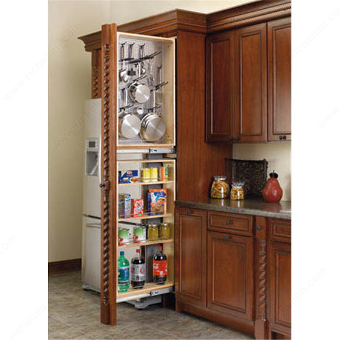 Pegboard Kitchen Storage: Tall Filler Pull-Out With Magnetic Stainless Steel