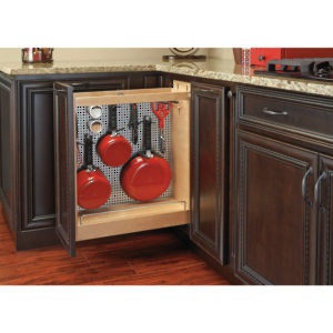 Pull-Out Base Organizer with Stainless Steel Panel