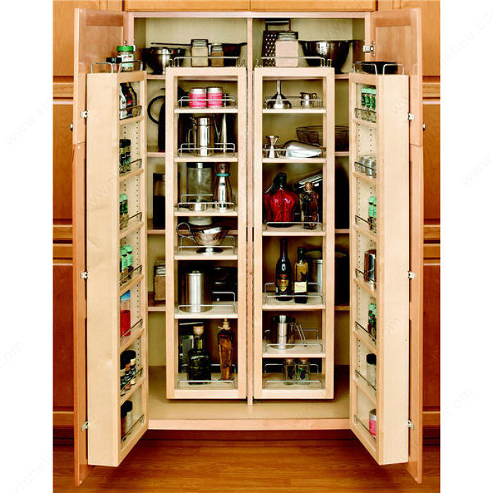 Swing out wood pantry kit richelieu hardware Kitchen cabinet organization systems
