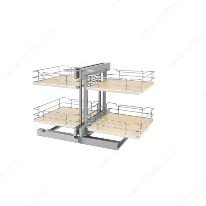 Kitchen Cabinet Corner Solutions: Two-Tier Pull-Out Basket System