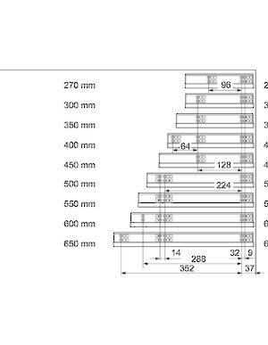 Tandem 560h Full Extension Concealed Undermount Slide
