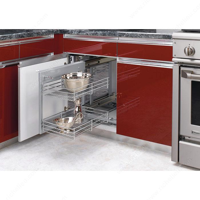 Universal blind corner optimizer richelieu hardware for Blind corner systems for kitchen cabinets