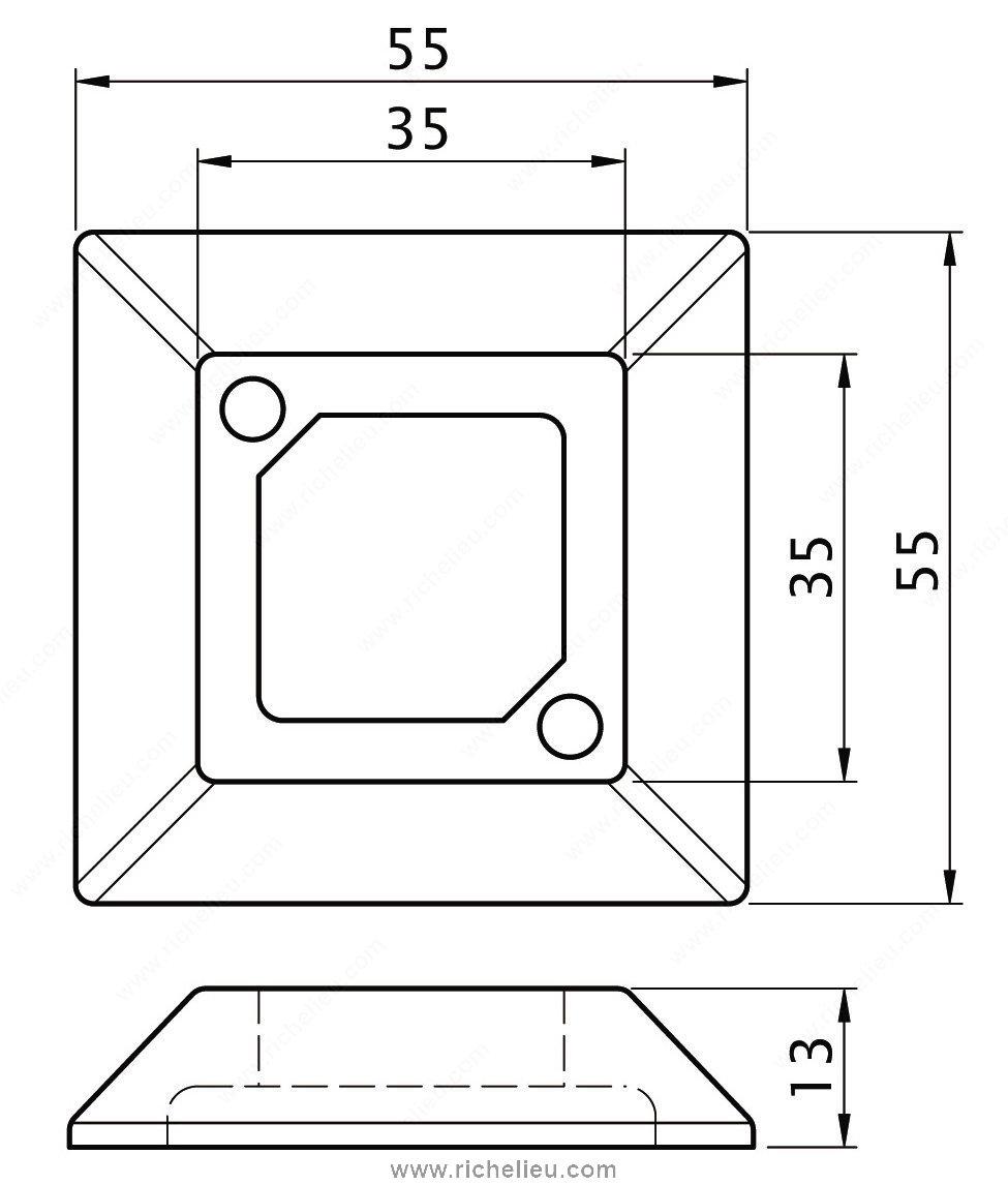base carr e pour patte de meuble quincaillerie richelieu. Black Bedroom Furniture Sets. Home Design Ideas