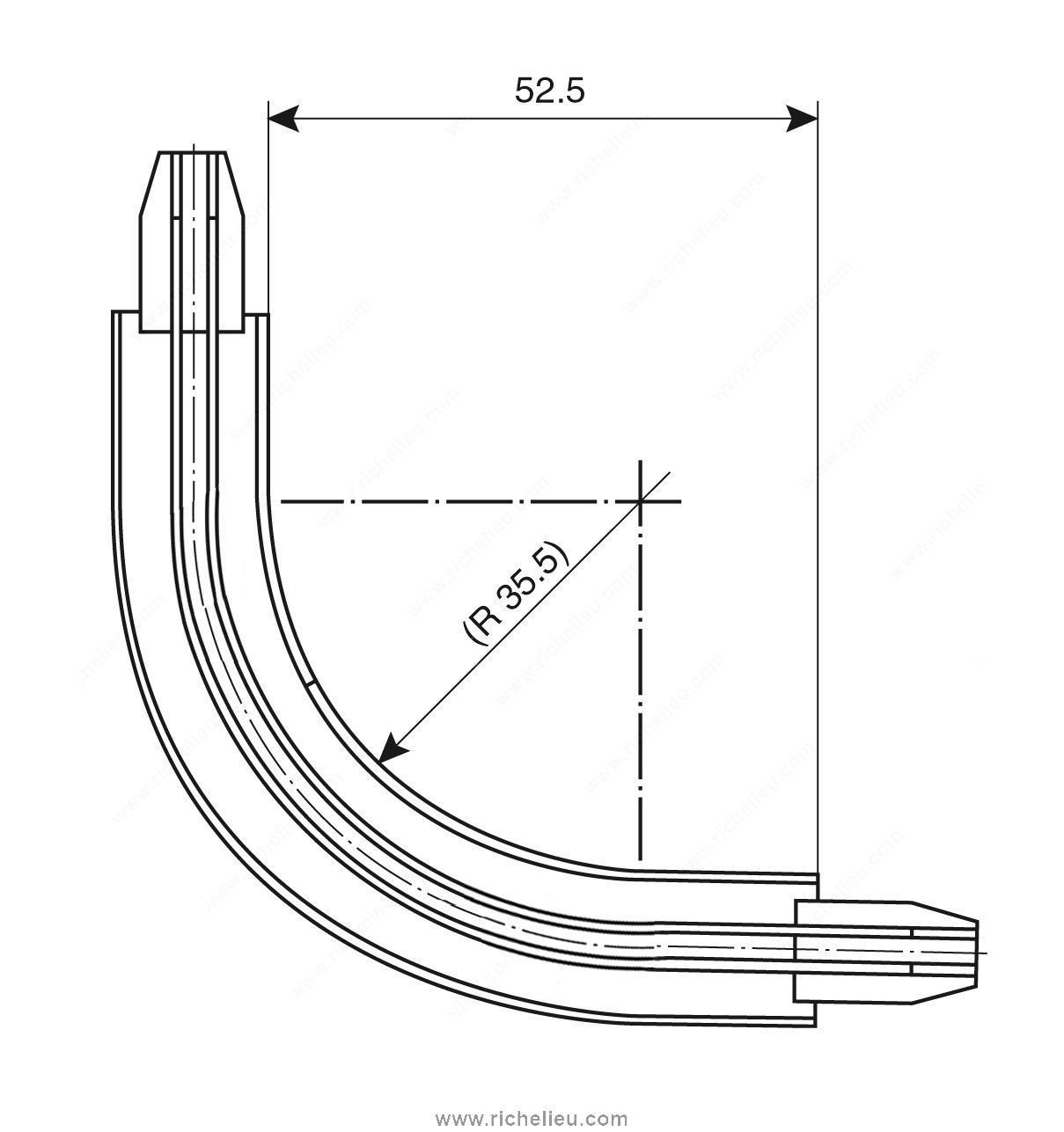 90 176 Elbow Track Recessed Richelieu Hardware