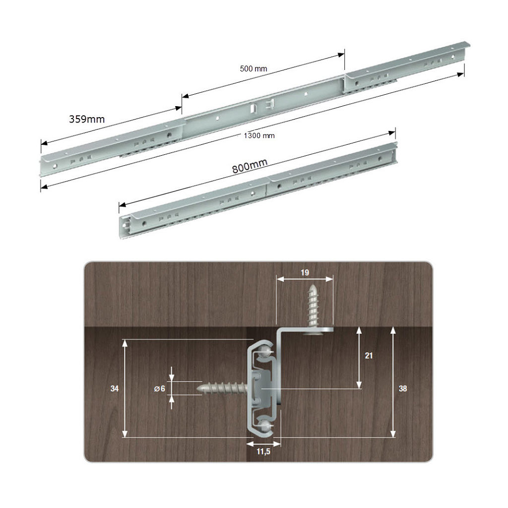Table slide central extension richelieu hardware for Table hardware