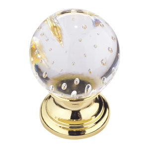 Traditional Brass and Glass Knob - 9923