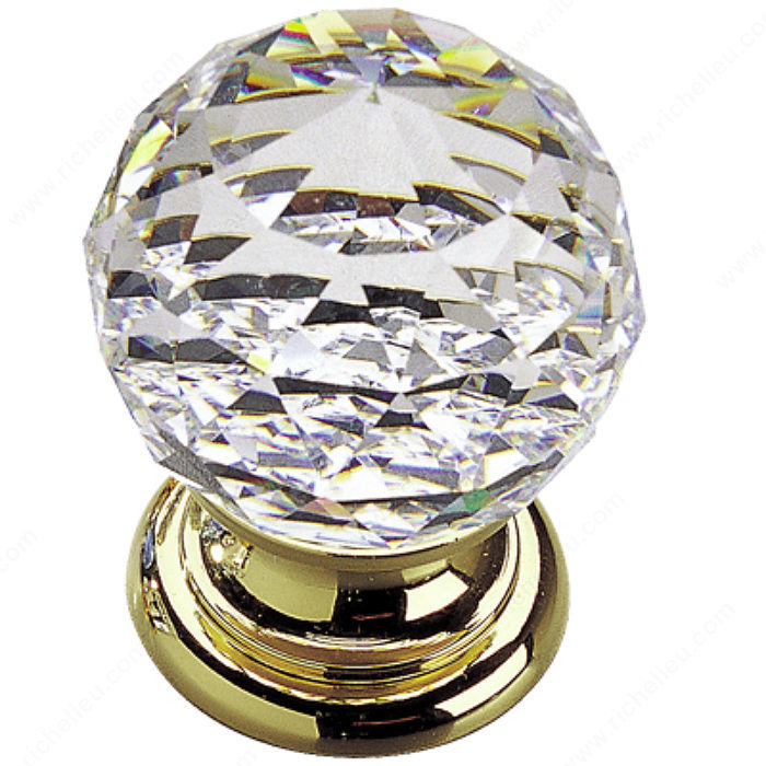 Traditional Swarovski Crystal And Gold Brass Knob 993