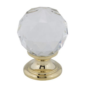 Contemporary Crystal and Brass Knob - 9993