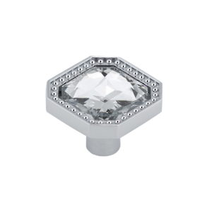 Contemporary Metal and Crystal Knob - 2626