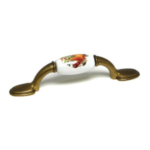 Eclectic Burnished Brass and Ceramic Pull - 3802