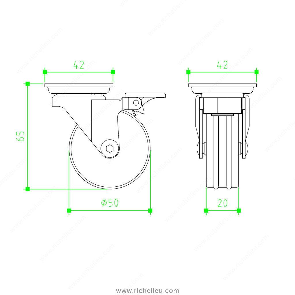 Contemporary Aluminium Furniture Caster With Brake