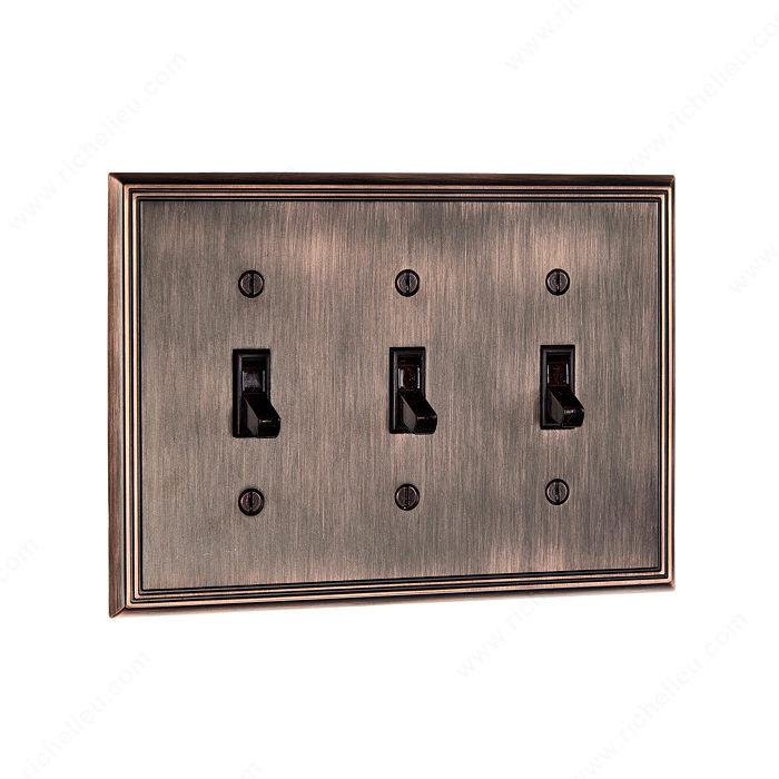 plaque d 39 interrupteur 3 prises bascules style. Black Bedroom Furniture Sets. Home Design Ideas