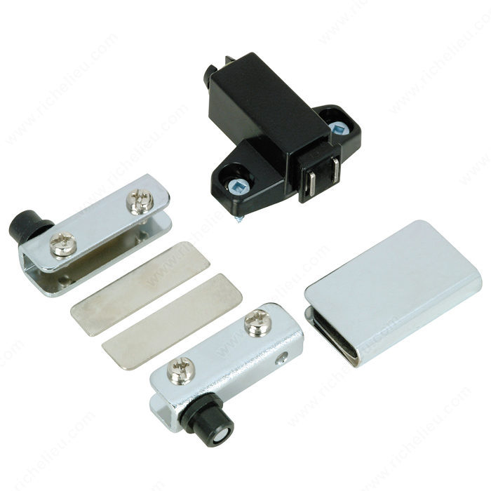 Pivot hinge set for glass doors recessed within furniture for Glass cabinet hinges