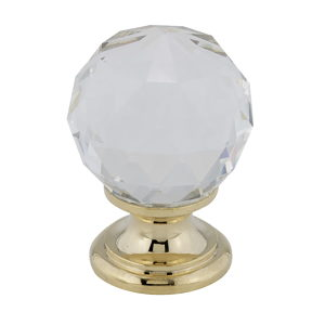 Traditional Brass and Crystal Knob - 9993
