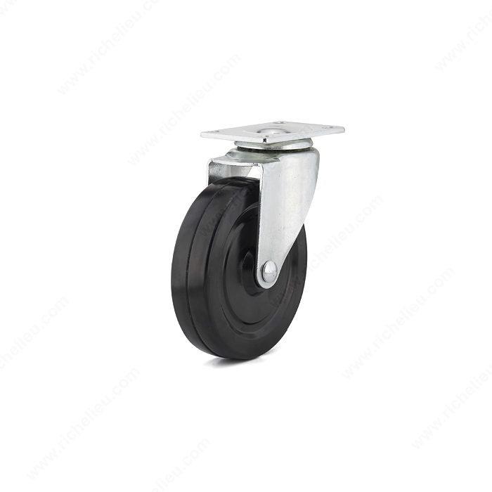 Roulette de meuble en caoutchouc noir usage g n ral - Roulette industrielle pour meuble ...