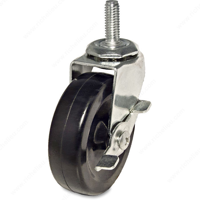 Multi purpose furniture caster with threaded stem for 3 furniture casters