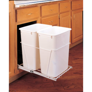 Double Pull-Out Waste Containers - Metallic Silver