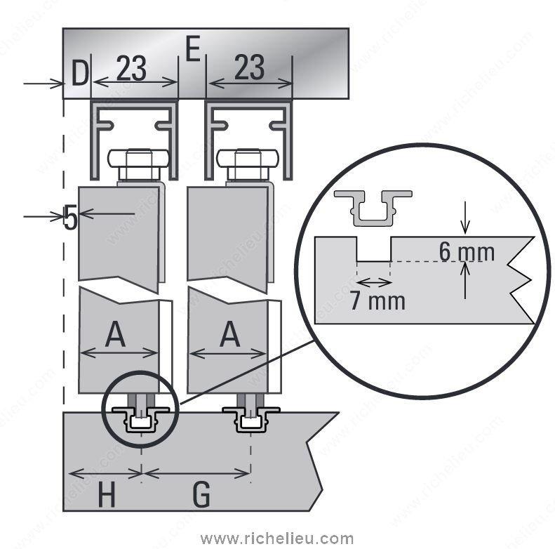 Door Straightening Bar: CD 40 CX. Bypassing Bottom Running Sliding System For