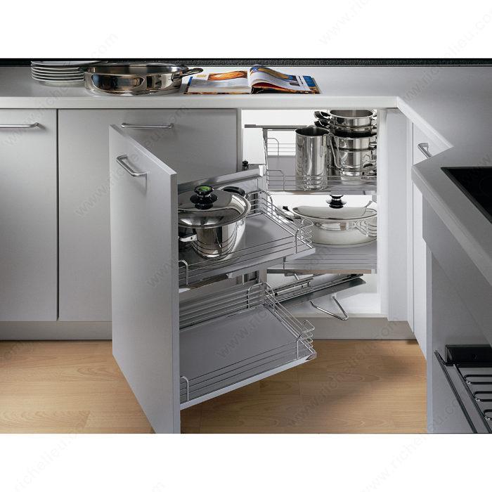 Kitchen Cabinet System: Magic Corner Set With Grey Arena Baskets
