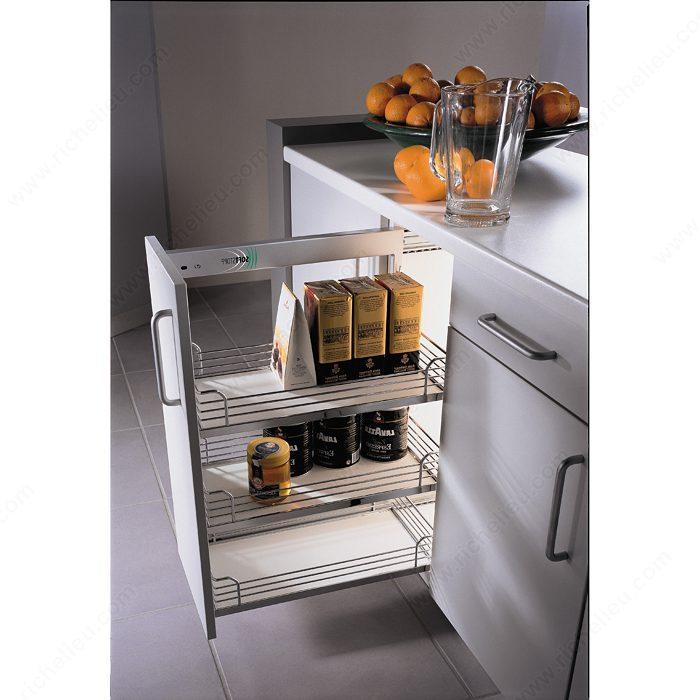 Kitchen Cabinet System: Chrome And Gray Basket Sliding System For Base Cabinets