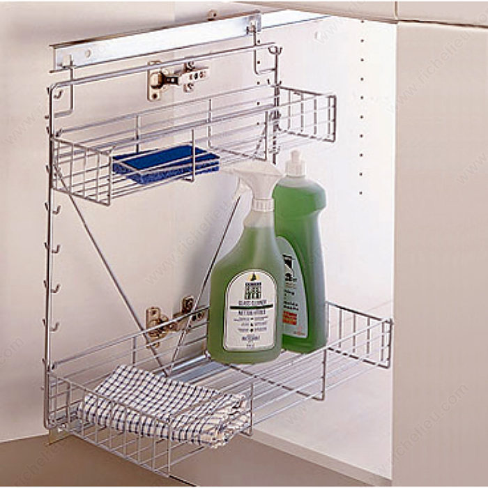 Wire basket system for base cabinets easy to use in existing cabinets