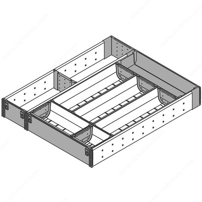 Range couverts et casier ustensiles pour tiroir en bois for Range couverts tiroir cuisine