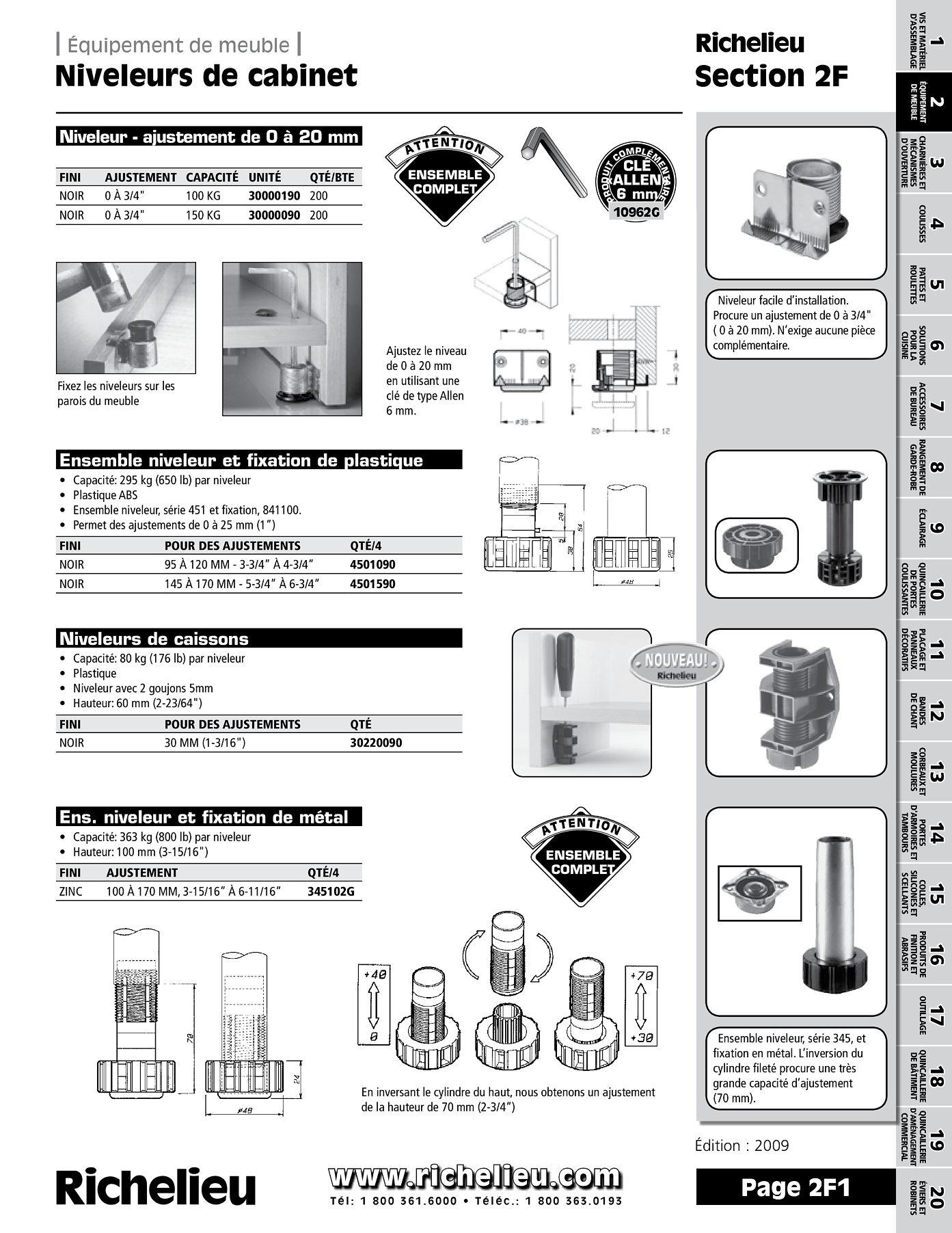 librairie des catalogues richelieu niveleurs de cabinets page 1 quincaillerie richelieu. Black Bedroom Furniture Sets. Home Design Ideas