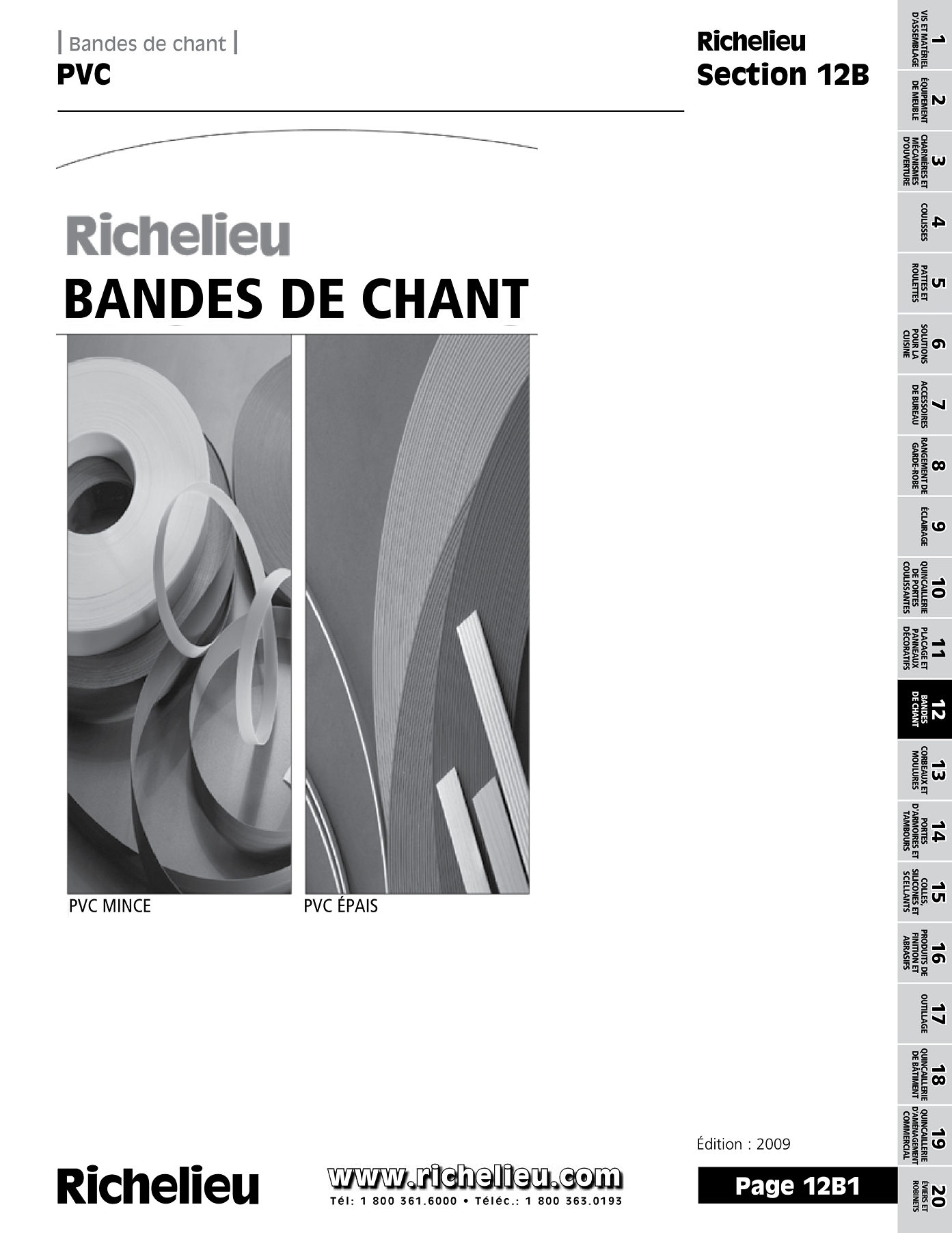 librairie des catalogues richelieu bandes de chant pvc page 1 quincaillerie richelieu. Black Bedroom Furniture Sets. Home Design Ideas