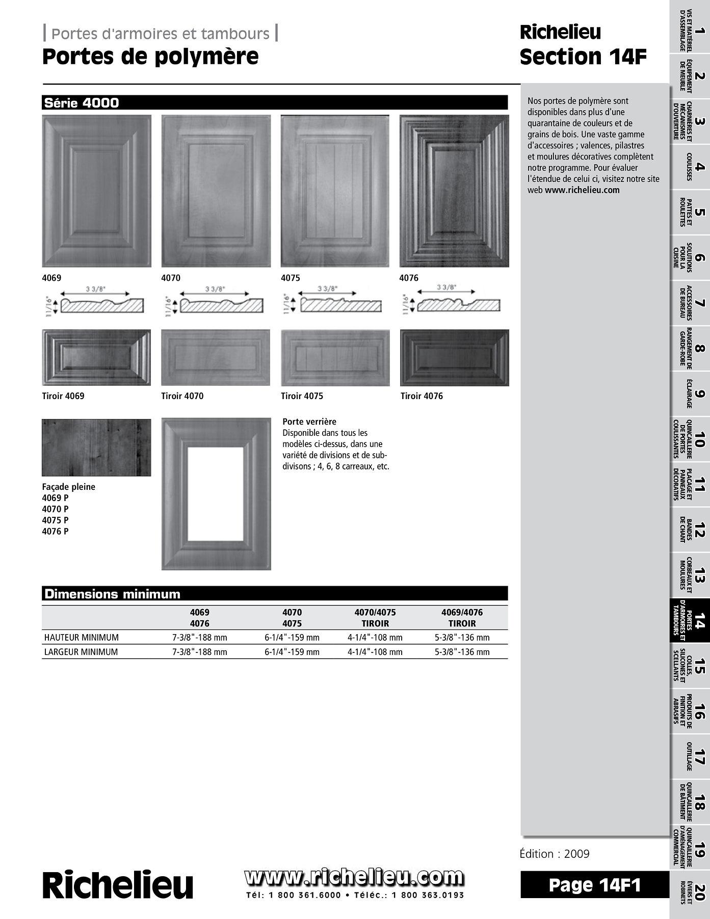librairie des catalogues richelieu portes de polym re page 1 quincaillerie richelieu. Black Bedroom Furniture Sets. Home Design Ideas