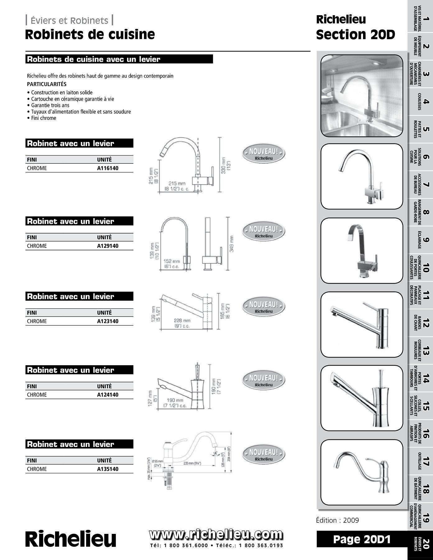 librairie des catalogues richelieu robinets de cuisine page 1 quincaillerie richelieu. Black Bedroom Furniture Sets. Home Design Ideas