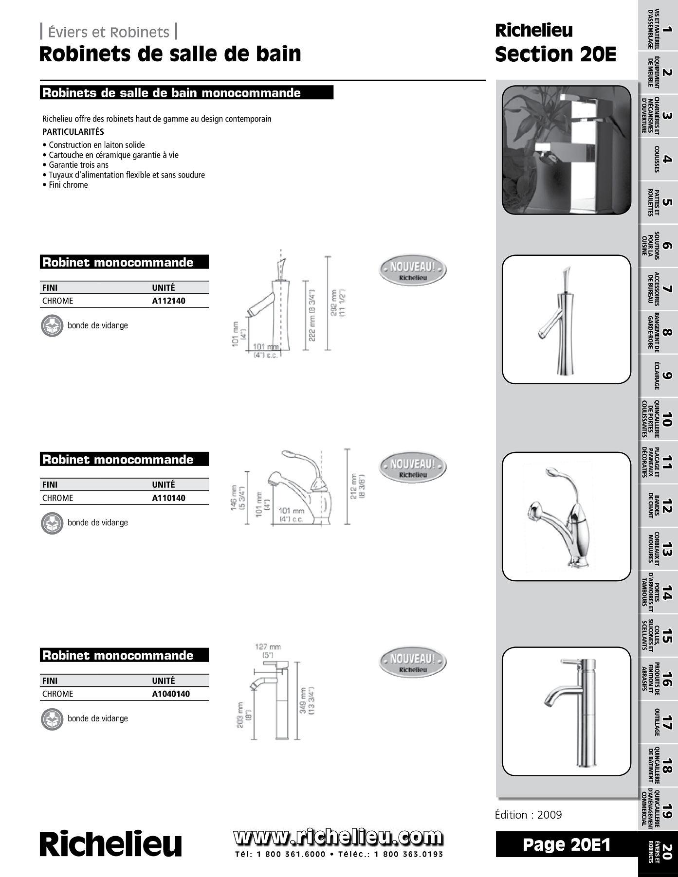 librairie des catalogues richelieu robinets de salle de bain page 1 quincaillerie richelieu. Black Bedroom Furniture Sets. Home Design Ideas